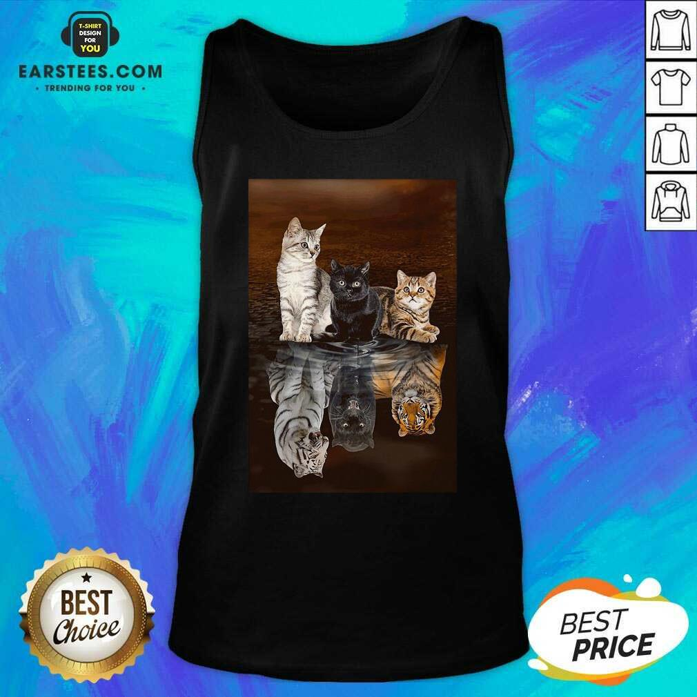 Awesome Three Cat Tiger Reflections 5d Diamond Diy Tank Top - Design By Earstees.com