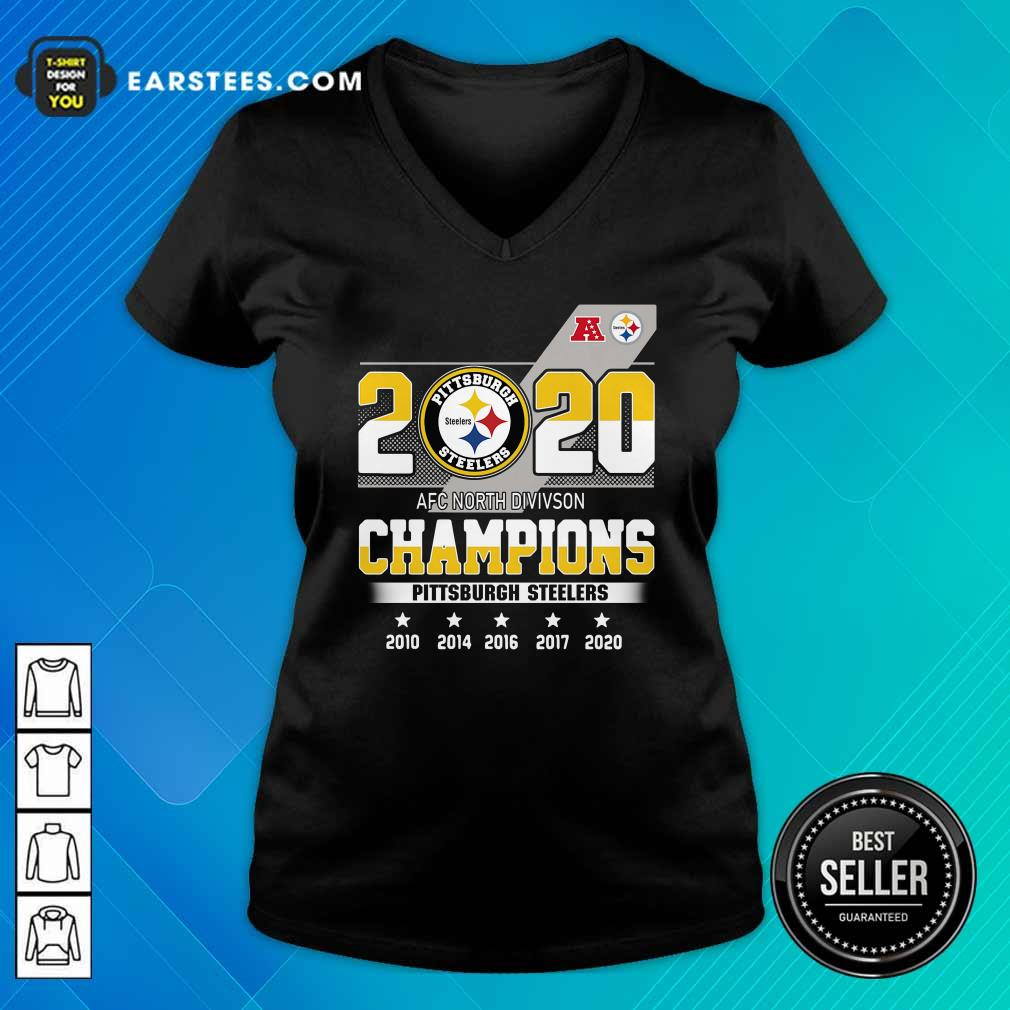 2020 AFC North Division Champions Pittsburgh Steelers V-neck - Design By Earstees.com
