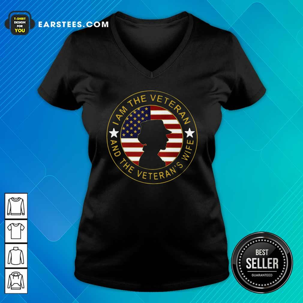 American Flag I Am The Veteran And The Veteran's Wife V-neck - Design By Earstees.com