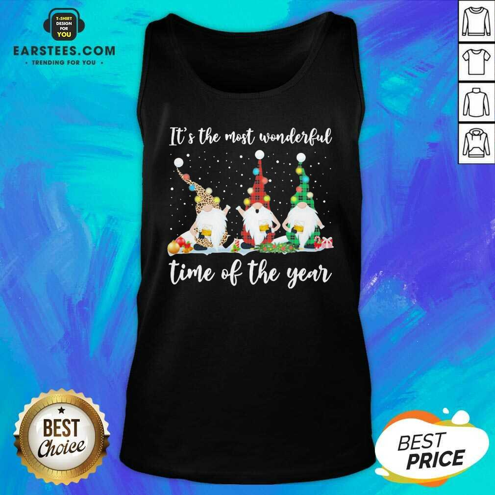 Hot Gnomes Light Its The Most Wonderful Time Of The Year Christmas  Tank Top- Design By Earstees.com