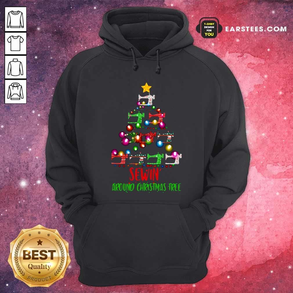 Sewing Around Christmas Tree Hoodie - Design By Earstees.com
