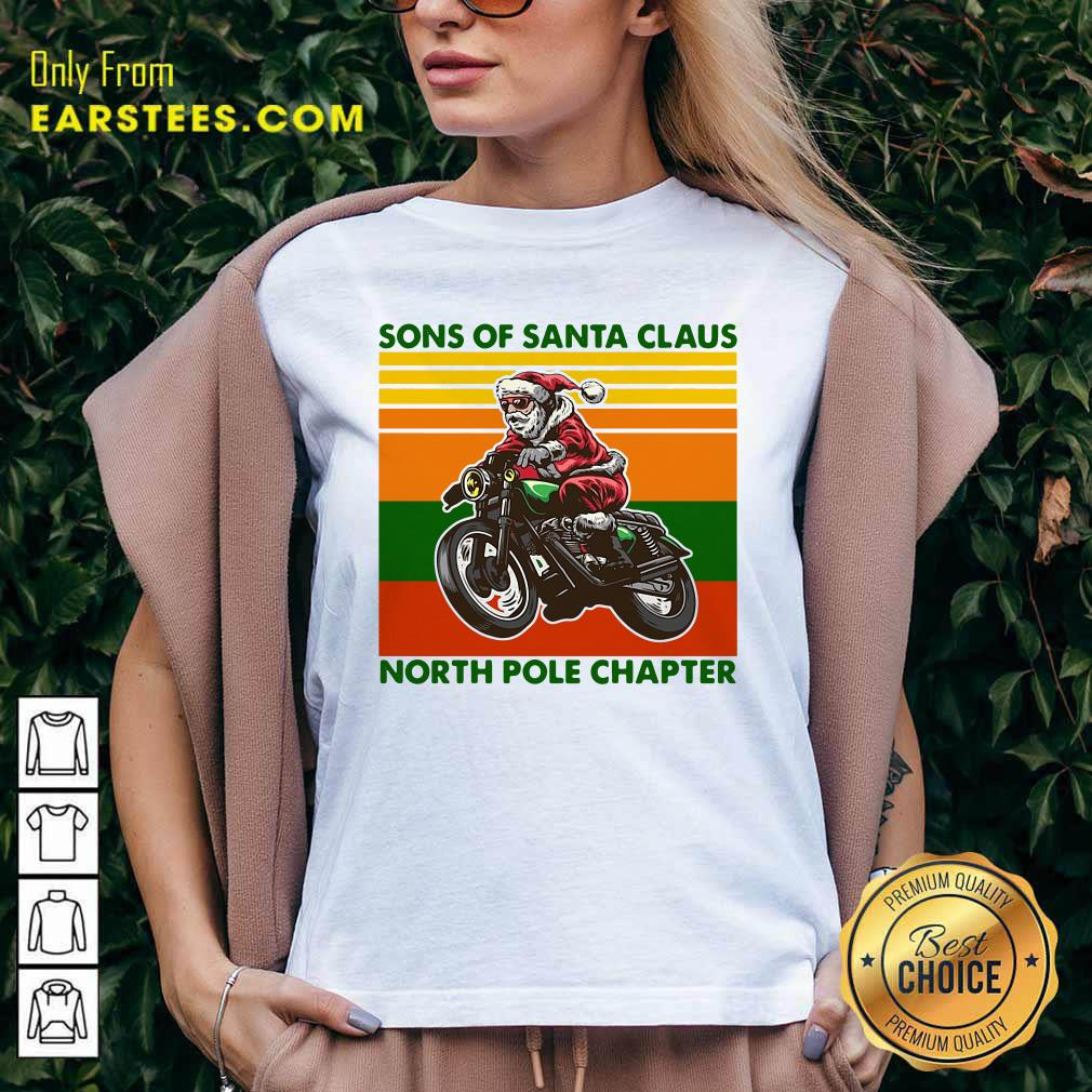 Motorcycle Sons Of Santa Claus North Pole Chapter Christmas V-neck - Design By Earstees.com