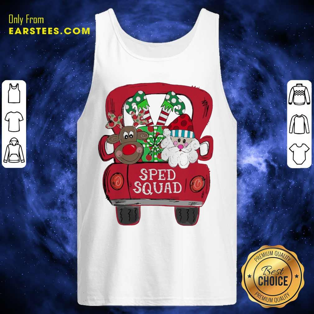 Reindeer Snd Santa Claus Sped Squad Christmas Tank Top - Design By Earstees.com