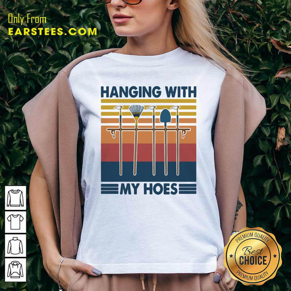 Gardening Hanging With My Hoes Vintage V-neck - Design By Earstees.com
