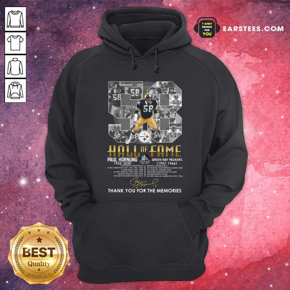 Hall Of Fame 58 Paul Hornung 1935 2020 Thank You For The Memories Signature Hoodie - Design By Earstees.com