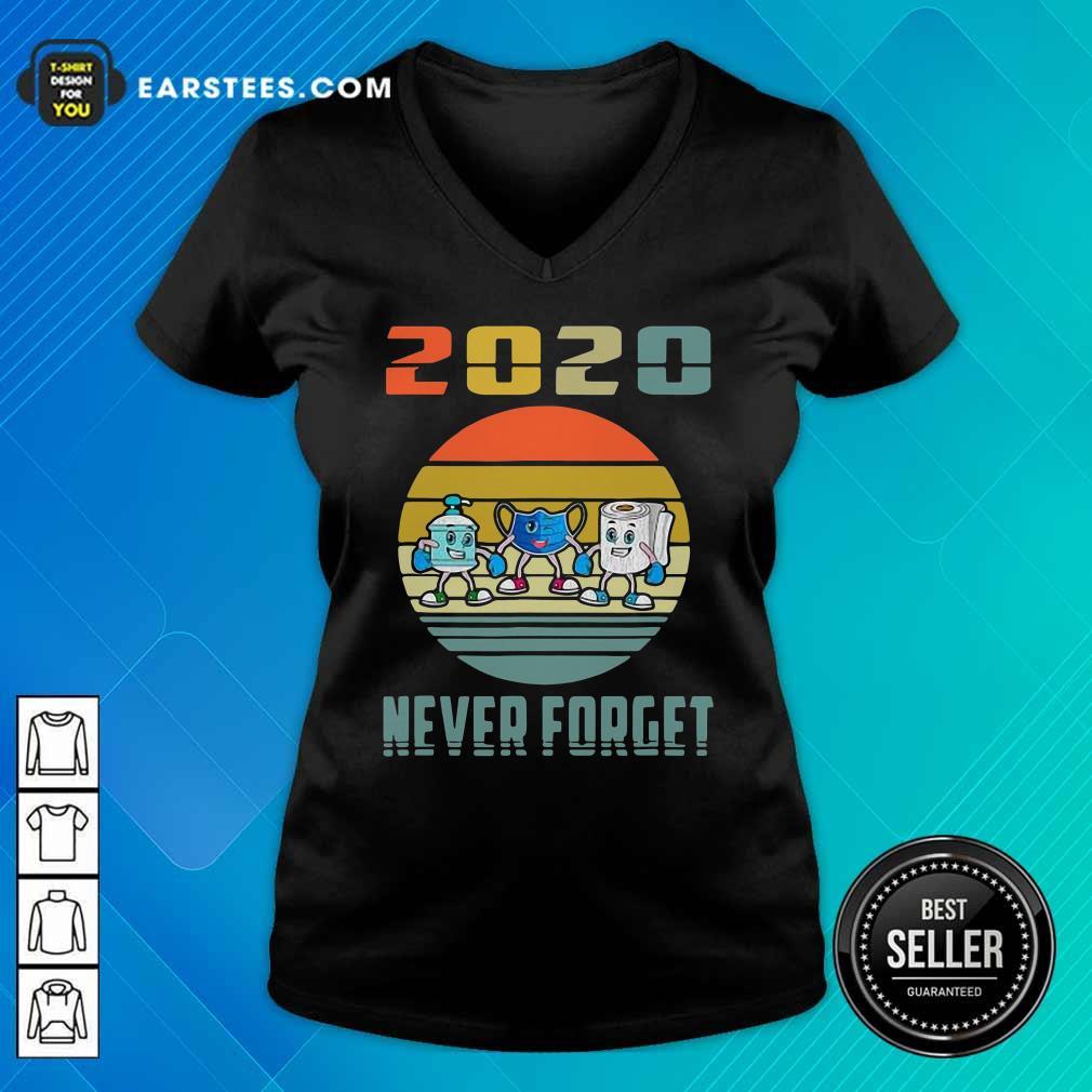 Never Forget 2020 Mask Toilet Paper Vintage V-neck - Design By Earstees.com
