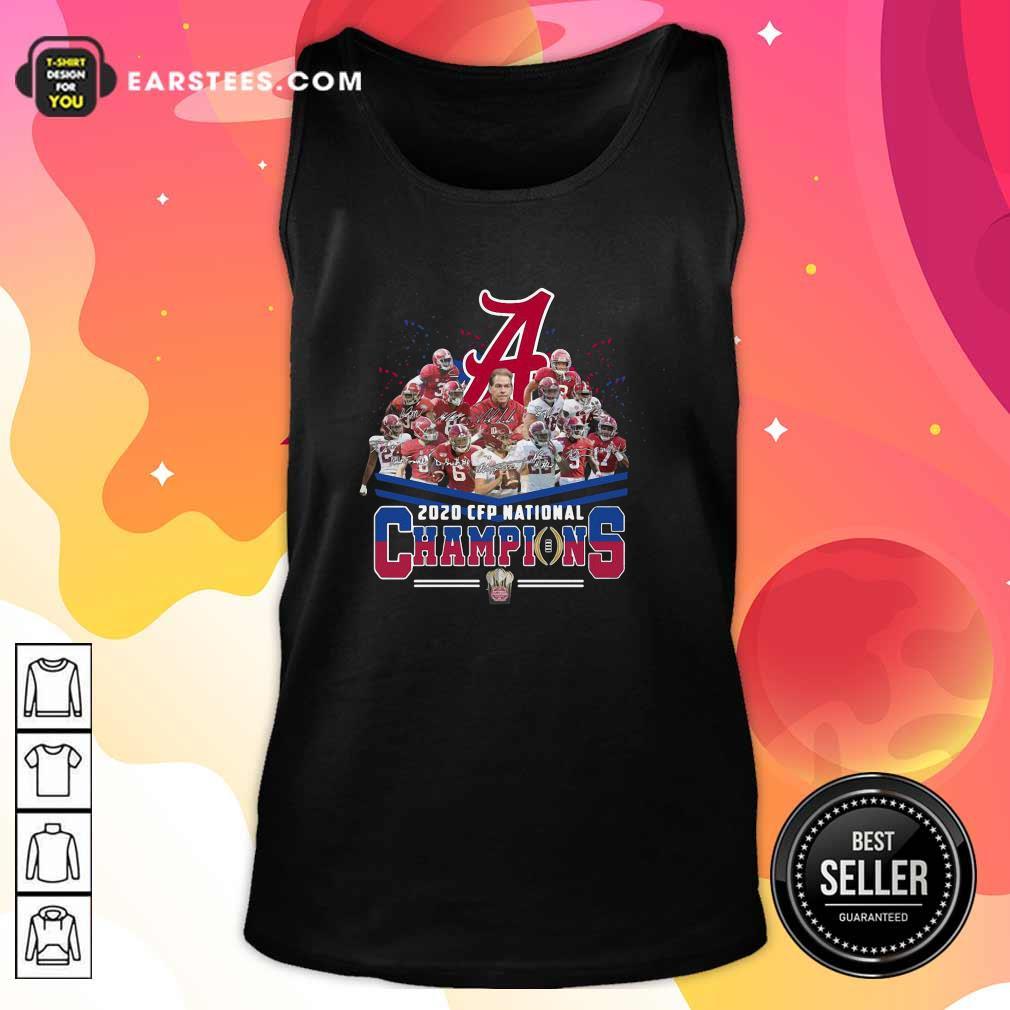 Alabama Crimson Tide Football Team Players 2020 Cfp National Champions Signatures Tank Top- Design By Earstees.com