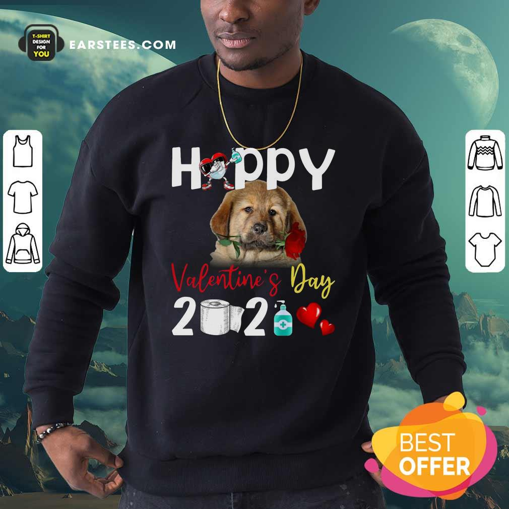 Tibetan Mastiff Happy Valentines Day With Toilet Paper 2021 Sweatshirt- Design By Earstees.com