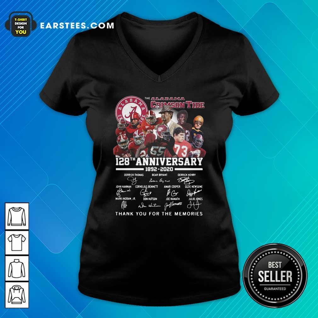 Alabama Crimson Tide 128th Anniversary 1982 2020 Signatures Thank V-neck- Design By Earstees.com