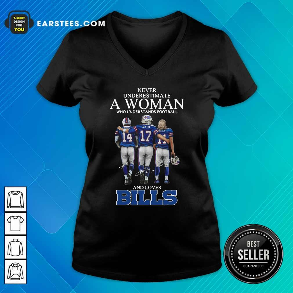 Never Underestimate A Woman Who Understands Football And Loves Bills V-neck- Design By Earstees.com