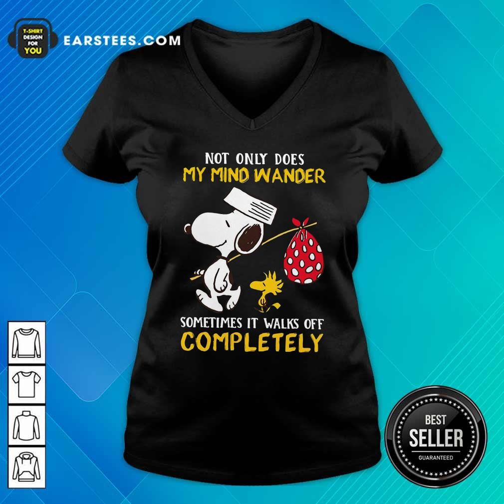 Snoopy And Woodstock Not Only Does My Mind Wander Completely V-neck- Design By Earstees.com