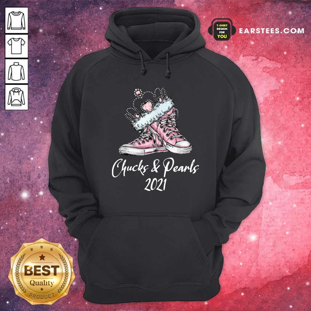 Crown Sneakers Chucks And Pearls For Kamala Harris 2021 Hoodie- Design By Earstees.com