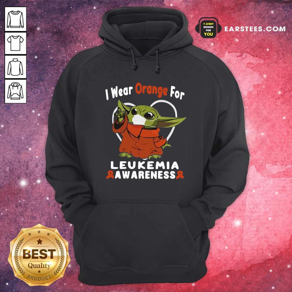 Baby Yoda Face Mask Wear Orange For Leukemia Awareness Hoodie- Design By Earstees.com