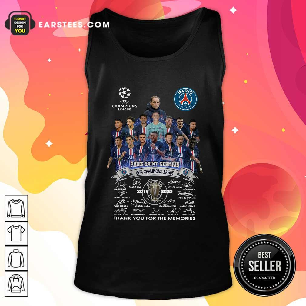 Paris Saint Germain UEFA Champions League 2019 2020 Thank You For The Memories Signatures Tank Top- Design By Earstees.com