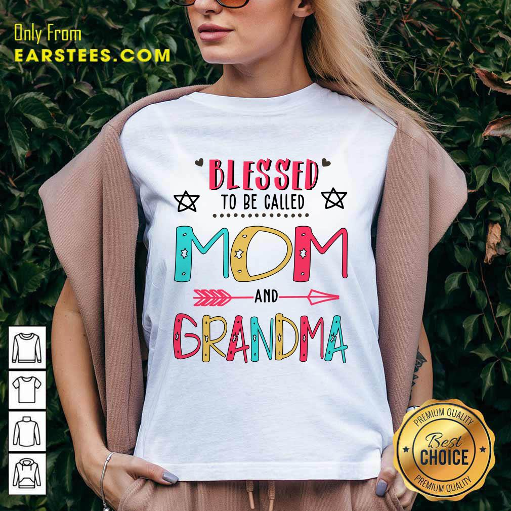 Blessed To Be Called Mom And Grandma Mother Day V-neck- Design By Earstees.com