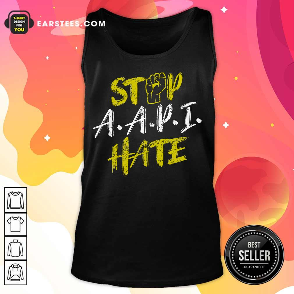 Funny Stop A.A.P.I Hate Hand Relaxed Tank Top