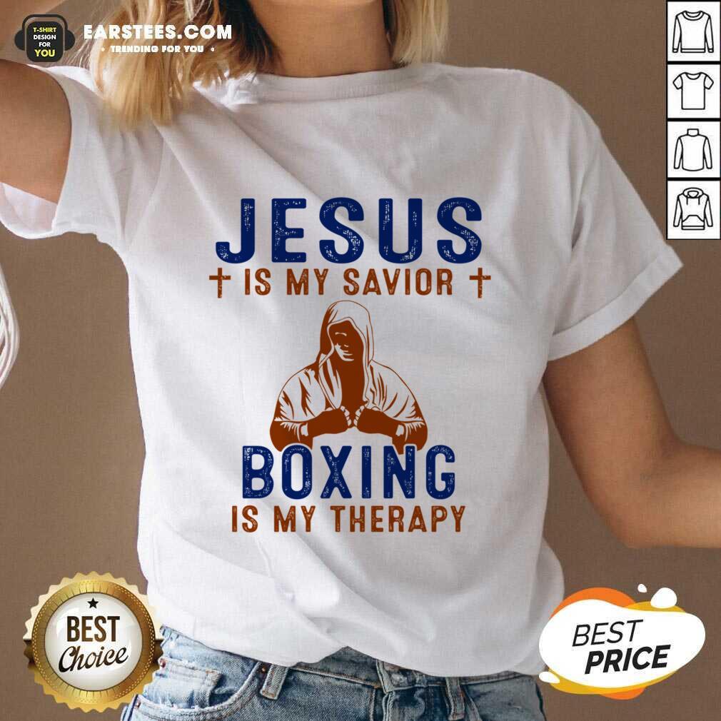 Happy Jesus Savior Boxing Therapy Great V-neck