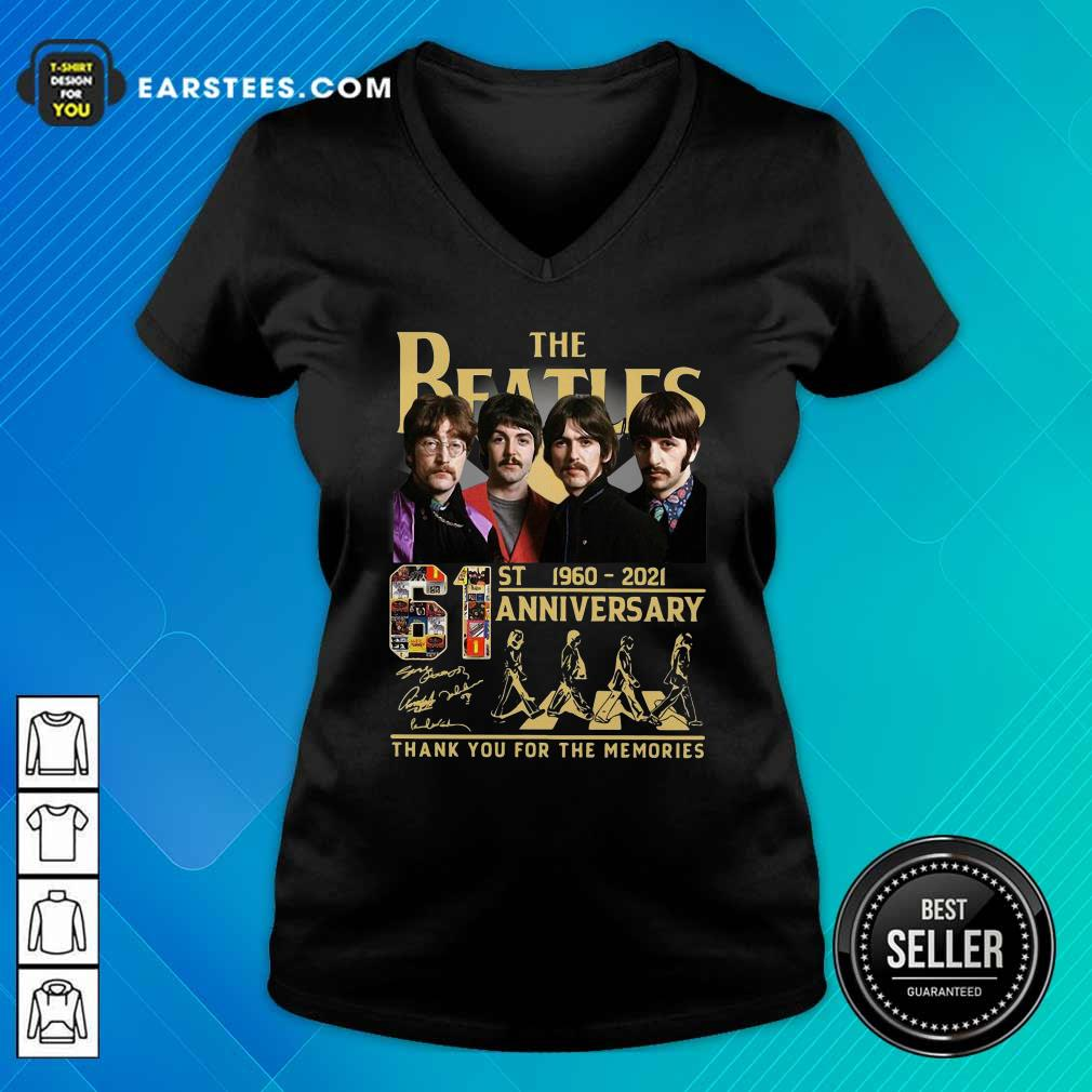 The Beatles 61st 1960 2021 Anniversary Thank You For The Memories Signatures V-neck- Design By Earstees.com