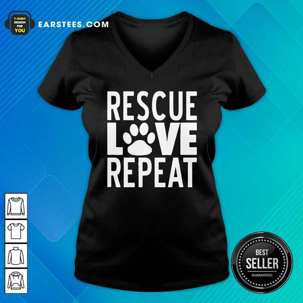 Rescue Love Repeat V-neck- Design By Earstees.com