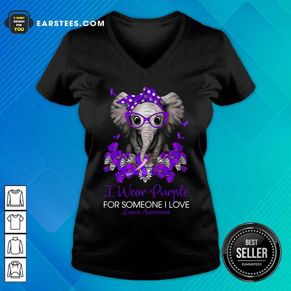 Elephant I Wear Purple For Someone I Love Lupus Awareness V-neck