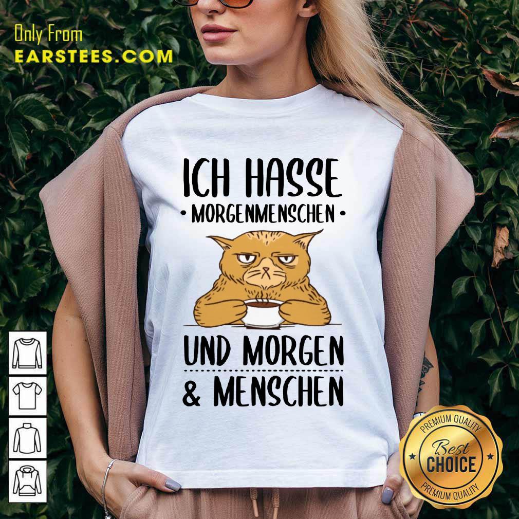 Hot Cat Ich Hasse Morgenmenschen Und Morgen Menschen V-neck