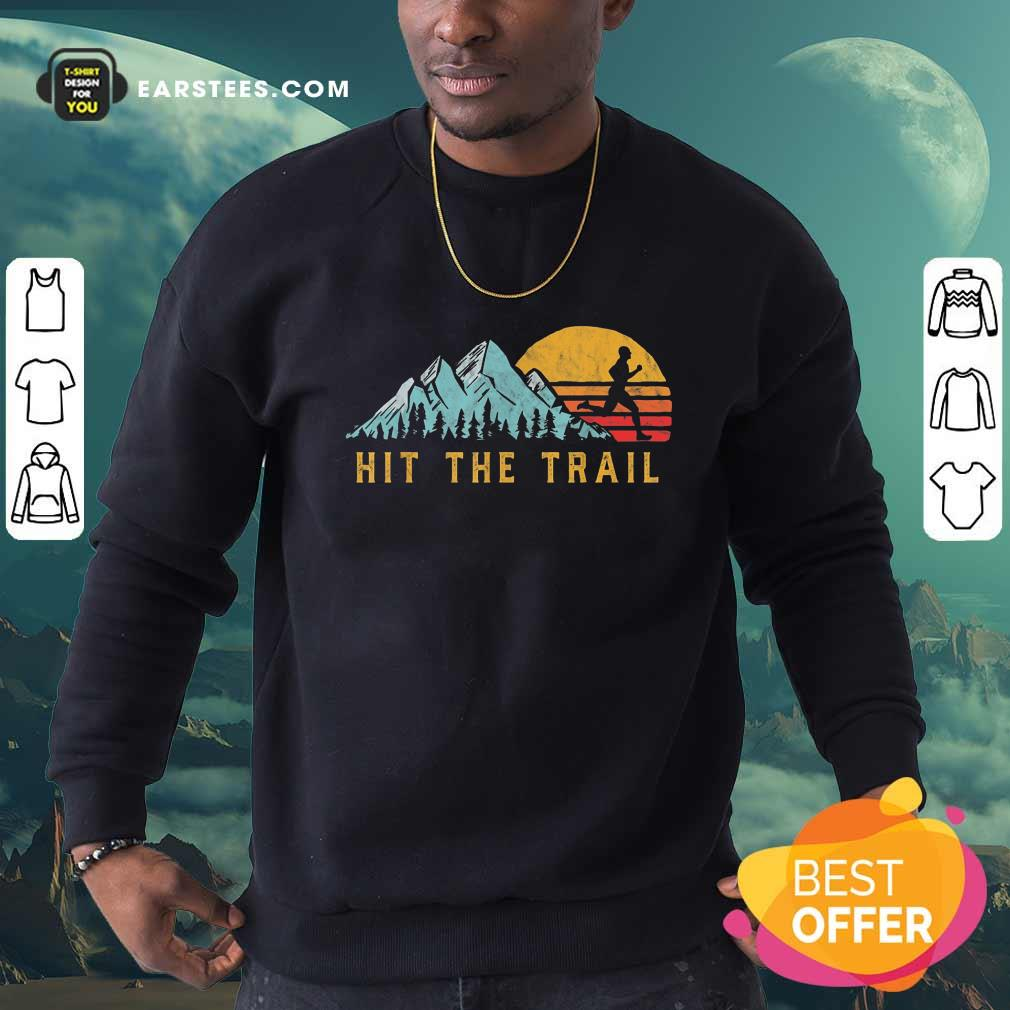 Pretty Hit The Trail Runner Retro Running Graphic Sweatshirt