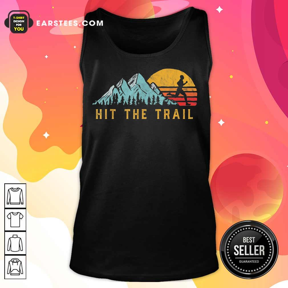 Pretty Hit The Trail Runner Retro Running Graphic Tank Top