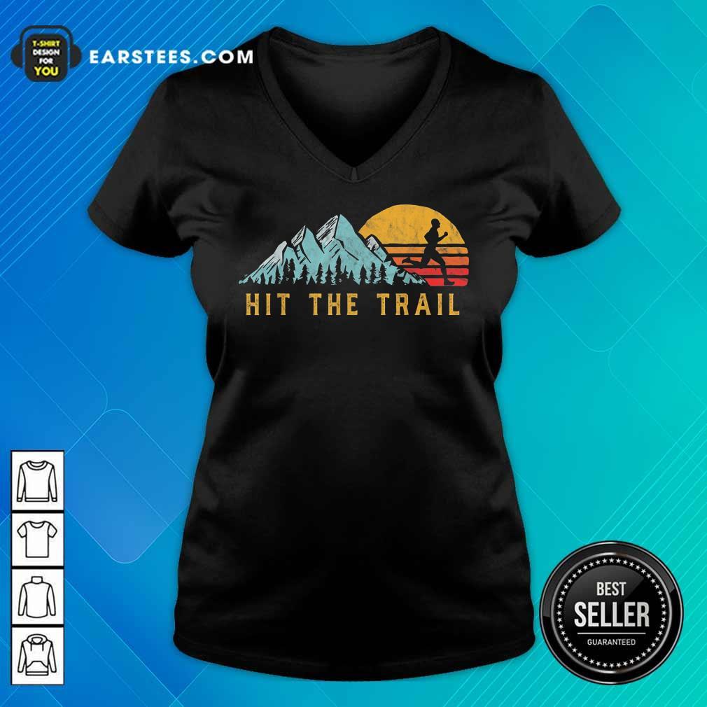 Pretty Hit The Trail Runner Retro Running Graphic V-neck