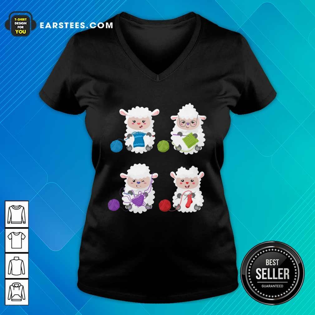 Top Sheep Knitting Lover V-Neck