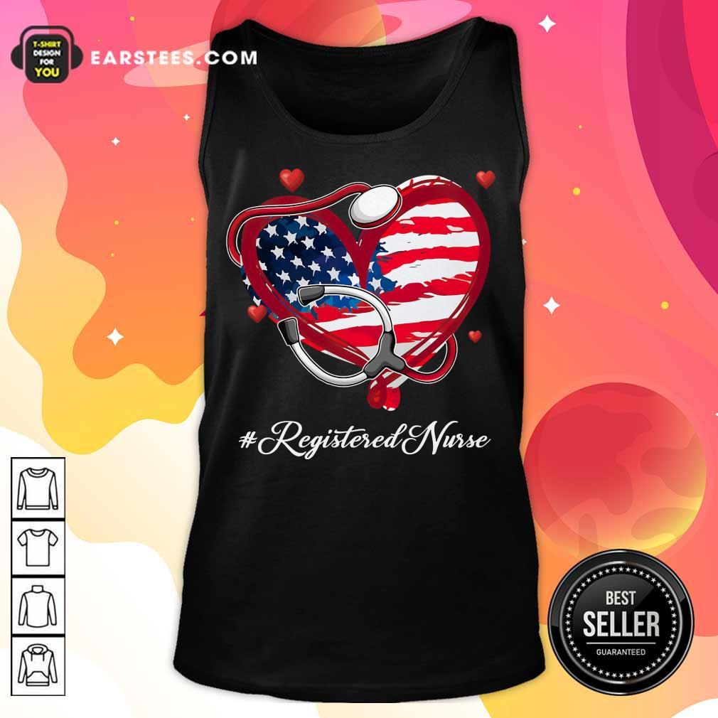 Nice Heart American Flag Registered Nurse Tank Top