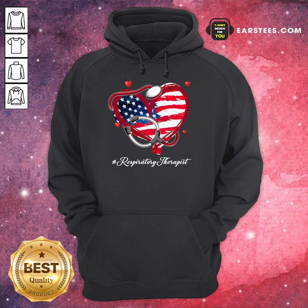 Nice Heart American Flag Respiratory Therapist Hoodie