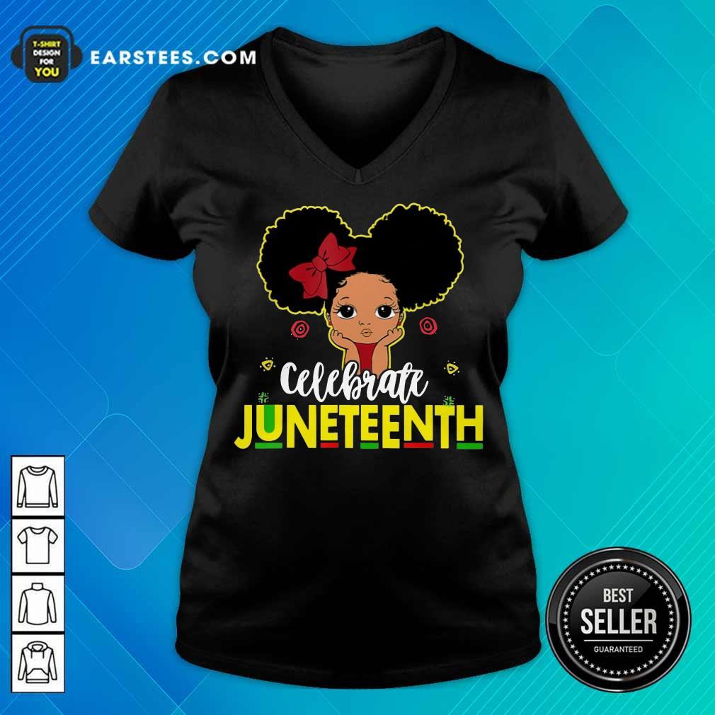 Top Black Girl Kids Juneteenth V-Neck