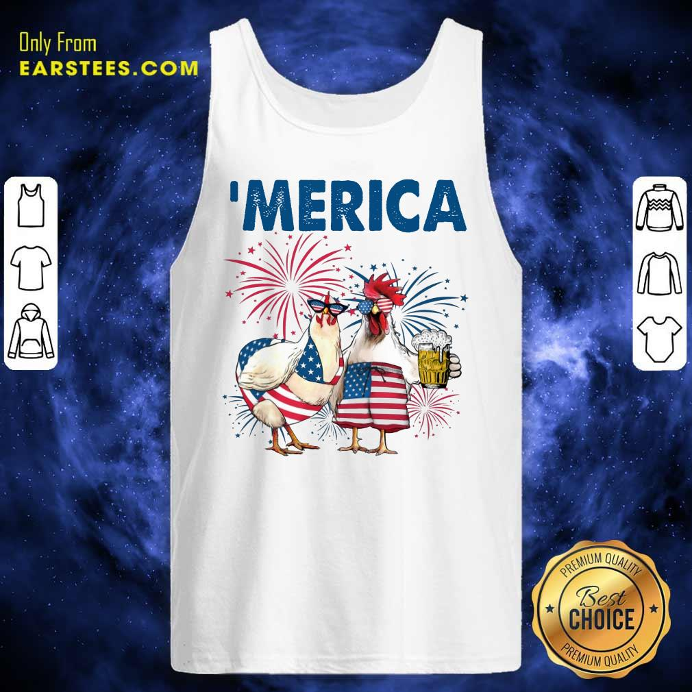 Top Chicken Drinking Beer 'Merica Independence Day Tank Top