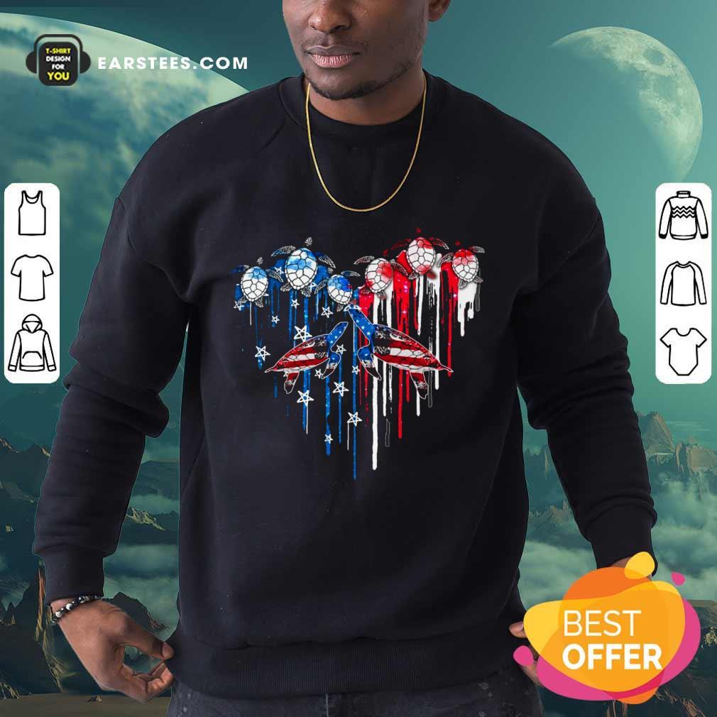Top Heart Turtles American Flag Sweatshirt