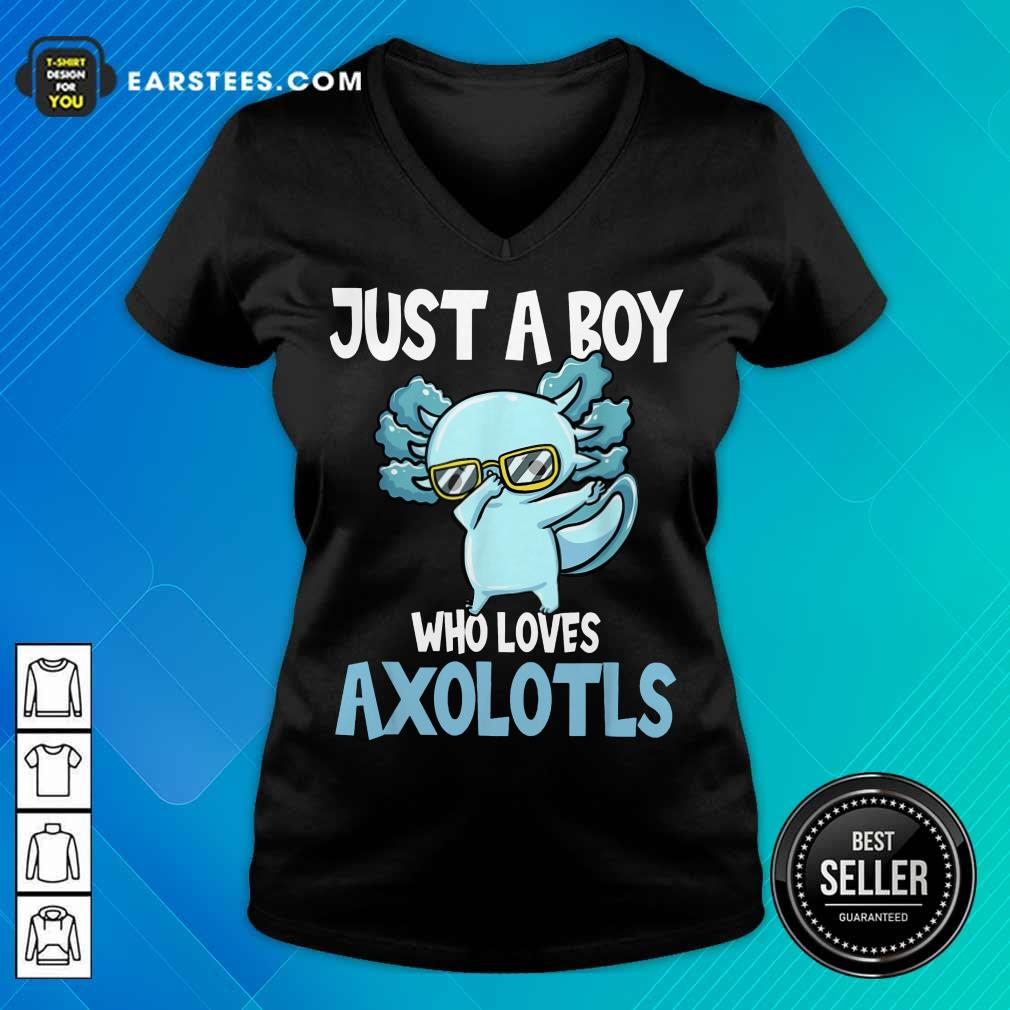Top Just A Boy Axolotls Kawaii V-Neck