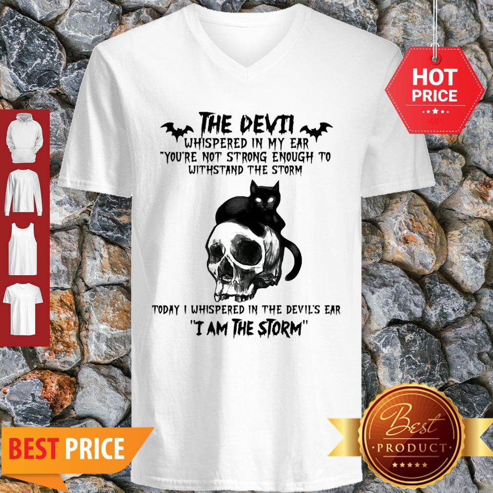 Black Cat Skull The Devil Whispered In My Ear I Am The Storm V-neck