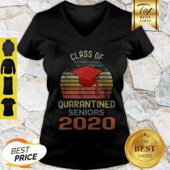 Class Of Quarantined Seniors 2020 Flu Coronavirus Vintage V-neck