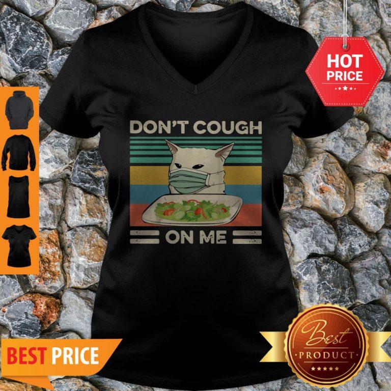 Confused Cat Meme Don't Cough On Me Vintage V-neck