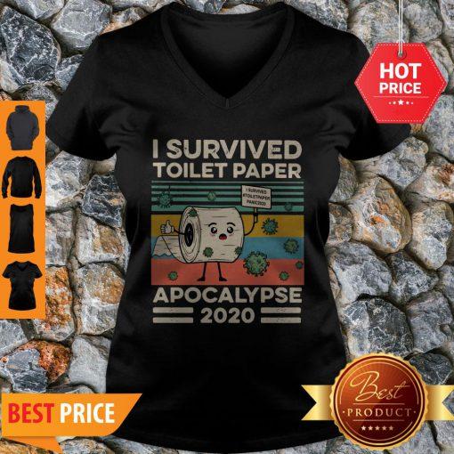 Covid 19 I Survived The Great Toilet Paper Apocalypse 2020 Vintage V-neck