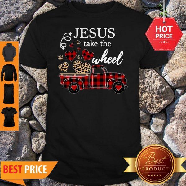 Leopard Truck Heart Jesus Take The Wheel Shirt