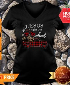 Leopard Truck Heart Jesus Take The Wheel V-neck