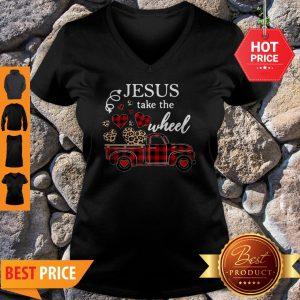 Leopard Truck Heart Jesus Take The Wheel V-neck