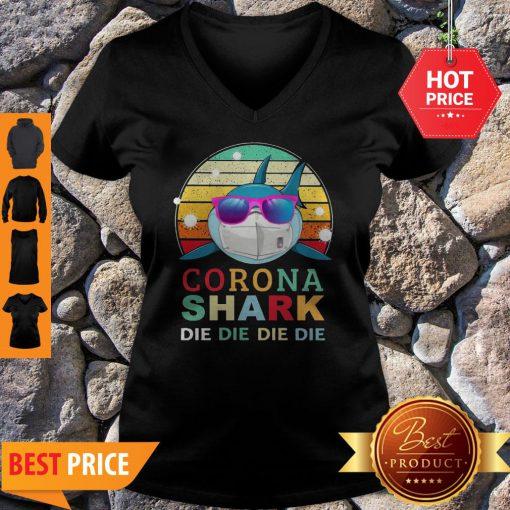 Official Corona Shark Die Die Die Die Vintage V-neck