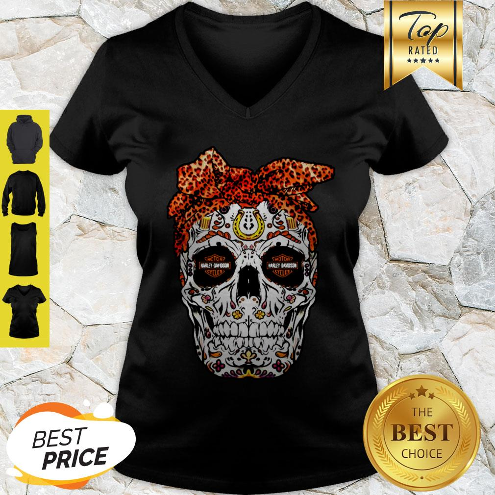 Sugar Skull Motor Harley Davidson Cycles V-neck