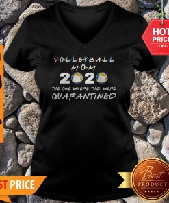 Volleyball Mom 2020 Face Mask The One Where They Were Quarantined V-neck