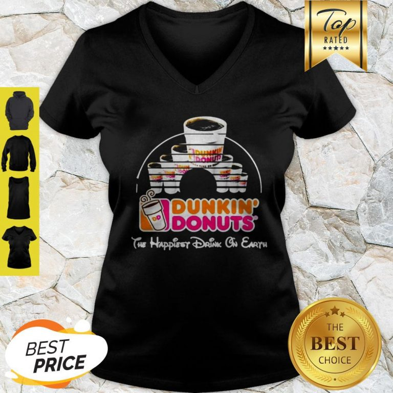 Walt Disney Dunkin' Donuts The Happiest Drink On Earth V-neck