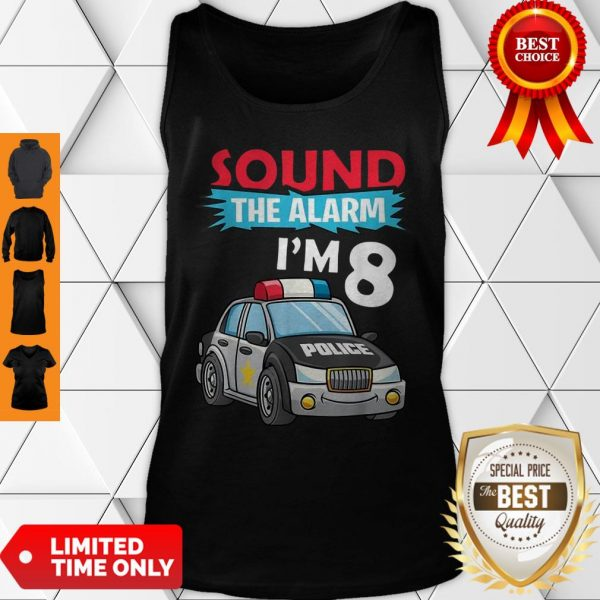 Birthday Boy 8 Years Old Kids Police Car Policeman Cop Tank Top