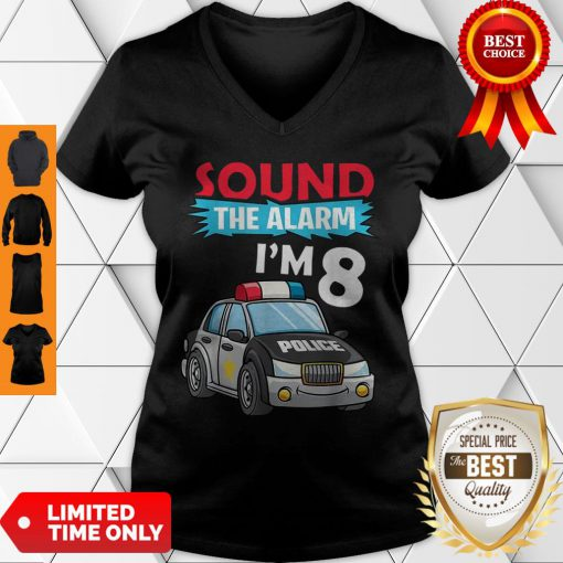 Birthday Boy 8 Years Old Kids Police Car Policeman Cop V-neck