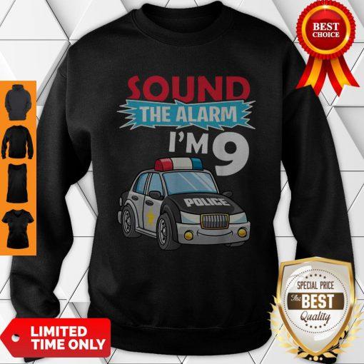 Birthday Boy 9 Years Old Kids Police Car Policeman Cop Sweatshirt