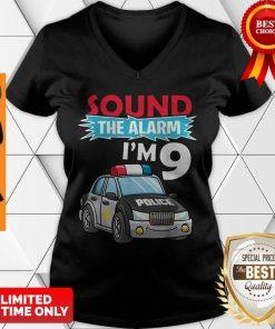 Birthday Boy 9 Years Old Kids Police Car Policeman Cop V-neck